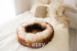 Large Sheepskin Cat bed Sheepskin Dog bed Cat Pouf Dog Pouf Sheepskin Cat Mat Dog Mat Brown Pet Bed Fur Pet Bed