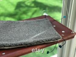 Leather Window Cat Bed, Unique and Luxury, Brown Genuine Leather supplied with a fine-fabric pad and spares of 4 Suction Cups