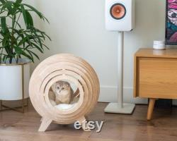 Luxury Cat Bed, Wooden Cat Bed, Modern Cat Cave, Designer Cat Bed, Modern Cat Furniture, Sphere Cat Bed, Beautiful Designer Cat Bed