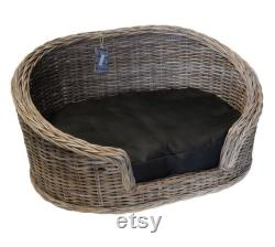 Luxury Grey Loebas Rattan Dog Beds (with cushion) Free delivery (UK mainland only)
