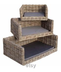 Luxury Wicker Dog Bed with Sausage Dog in Ochre or Duck Egg Blue Bumper Cushion and Mattress Cover by Berry and Grouse dog sofa pet sofa