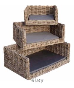 Luxury Wicker Dog Bed with Sophie Allport Highland Stag Bumper Cushion and Mattress Cover by Berry and Grouse dog sofa pet sofa