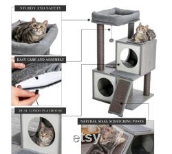 MODERN CAT TREE With Scratching Posts 2 Luxury Condos For Large Perch for Medium To Large Cats Kitten Scratching Post Wood Cat Furniture