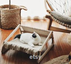 Macrame Cat Bed With Wooden Support, Macrame Cat Nesting With Wooden Legs, Cat Lover Gift, Cat Furniture