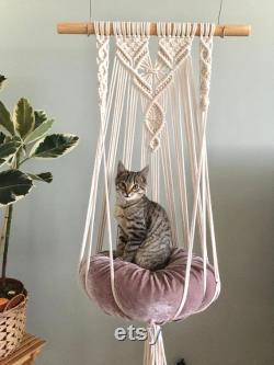Makrama hamak, Pleciony hamak dla kota, Macrame Cat Hammock, Cat bed, Cat Hanging Bed