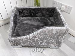 Medium KAMPAS anti-anxiety dog bed snuggle bed with orthopedic memory foam, faux fur blanket, 2 pillows FREE Poo Bag holder