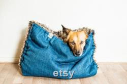 Mélange canvas faux fur snuggle sack cuddle cave travel bed anti-anxiety dog bed anxiety relief nest bed puppy pocket