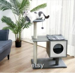 Modern Cat Tree Tower Cat Condo with Toy Ball and Sisal-Covered Scratching Posts Perfect for Small to Medium Cats Cat Lover Gift
