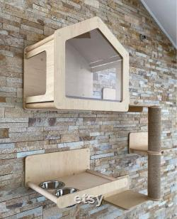 Modern House for Cat Wooden Cat Furniture Indoor Cat House Cat Bed Wall Cat Gift Cat Shelves for Wall Cat Tree Home Decor Cat Wall Furniture