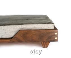 Modern Walnut Maple Dog Pet Bed with Memory Foam Pad
