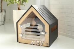 Modern dog and cat house with acrylic door PetSo. Dog bed, cat bed, dog and cat furniture, indoor dog house, dog kennel, dog crate.