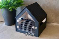 Modern dog and cat house with acrylic door PetSo with all over painting. Dog bed, dog furniture, indoor dog house, dog crate, dog house.