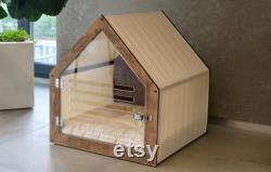 Modern dog and cat house with acrylic door and fabric roof PetSo. Dog bed, cat bed, indoor dog house, dog kennel, dog crate, dog furniture.