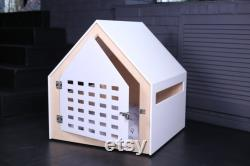 Modern dog and cat house with white acrylic door PetSo. Dog crate, dog kennel, dog furniture, dog bed, cat bed, indoor dog house.