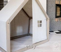 Modern dog house with a front and back linen cover, Indoor Dog bed, Pet house, Pet bed, Pet design furniture, Dog bed house, House bed