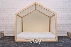 Natural Solid Pine Wood Dog Bed, Wooden Pet House, Cat Bed, Wood Dog House, Pet House, Pet Furniture, Dog Furniture, Sweet Home Series WLO