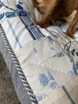 One of a Kind Blue and White Patchwork Quilted Dog Bed with Cording- Large