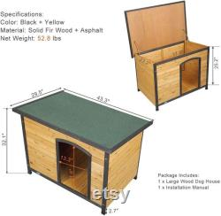 Outdoor Slant-Roofed Wood Dog Pet House Shelter Kennel with Open Entrance,L M S,4Colors
