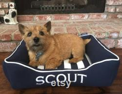 Personalized Dog Bed, Nautical Dog Beds, Navy Blue Dog Bed, Small Dog Bed, Washable Dog Bed Removable Cover, Dog Bed with Cover, Dog Gift