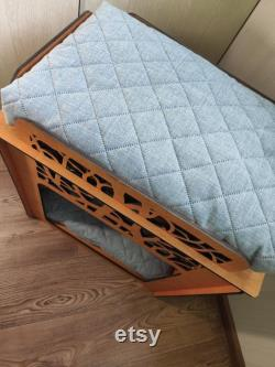 Personalized Wooden Dog Bed. Double Pet Bed Holder with Custom Pet Pillow Gift