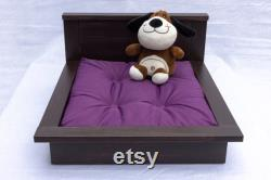 Personalized Wooden Pet Bed. Modern Cat or Dog Bed Holder with Custom Pet Pillow Gift