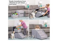 PetFusion Hybrid Pet Furniture Foldaway Dog and Cat Steps. Toy storage unit dog and cat window perch bed 18x18x18