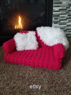 Pet sofa Cat couch Pet chair Crochet Pet accessories Pet furniture Cat accessories Kitty couch Catnip pocket pillowithPet furniture Cat sofa