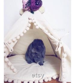 Rabbit Teepee, Rabbit Bed from Natural Cotton Rabbit House, Bunny Teepee, Pet Teepee with Pom Pom Pad