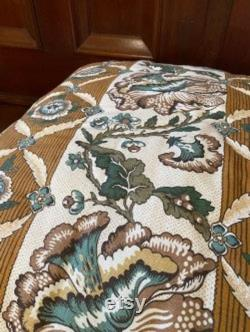 Raffia Dog Bed with hand quilted Villefranche linen top and cording Large
