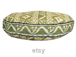 Rapallo Round Dog Bed Blue Green, Ikat Stripe Print Dog Bed in 3 Sizes, Pet Furniture
