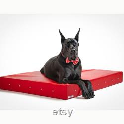 Red Leather Luxury Dog Bed