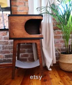 Retro Box with hammock Beautiful cat house for two cats Cat Bed, Wooden Pet House, Wooden Cat