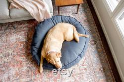 Round Bed in Navy Newfie Designer Dog Bed for Small to X-Large Dogs Herringbone Navy Pet Bed Durable Sunbrella Fabric
