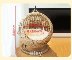 Round winter cat's nest general purpose for semi closed opening with pad washable cat bed house basket pet supplies cat hammock