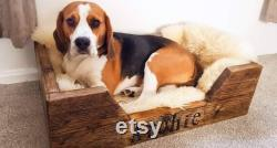Rustic Dog Bed Dog Bed Recycled wood dog bed Handmade Reclaimed Pine Personalised dog bed, Farmhouse Decor