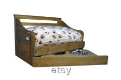 Sassy Paws Multipurpose Wooden Pet Bed with Feeder in Varying Sizes and Colors