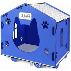 Semi-handmade small old pine dog cat house