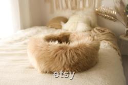 Sheepskin Cat bed Cat cave pet bed Dog Bed Pink Cat bed pet furniture Pink dog bed Genuine Real Sheepskin