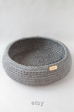 Soft cat bed, yellow and gray cat bed, set of three baskets