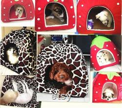 Strawberry Dog Kennel Bed for Dogs Cats Animals Foldable Pet House Leopard Bed Warm Animal Pet House S-XXL
