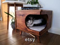 Stylish plywood cat house, cozy cat bed Rustical Box Dark Oak cat bed, cat pillow, cat gift, design cat bed, wood hammock, wooden bed