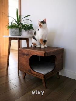 Stylish plywood cat house, cozy cat bed Rustical Box Dark Oak from PurrFur
