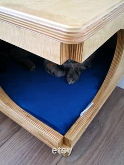Stylish plywood cat house, cozy cat bed Rustical Box Light Oak from PurrFur