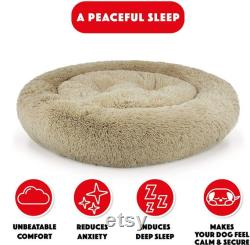 The Dog s Bed Sound Sleep Original Donut Dog Bed, XL Dog Biscuit Beige Plush Removable Cover Calming Nest Bed