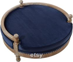 The Hound Collection Handmade Solid Weathered Oak Frame Pet Dog Bed with Removable Waterproof Velvet Cushion, Navy