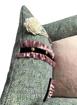 Tweed Boy Chowpel Dog sofa bed with Mauve satin Ruffle decoration, designer inspired dog bed