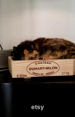 Upcycled Wine Crate Coffin Pet Bed