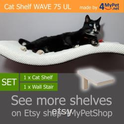 WAVE 75 UL SET 1 1 cat shelf cat shelves cat furniture cat bed cat wall shelves cat perch curved cat wall shelf wandregal katze katzenmöbel