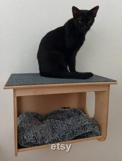 Wall Mounted Cat Bed Cottage with Carpeted Upper Deck Small Animal Pet House Climbing Wall Steps Shelves Perches Platforms Furniture Supplies