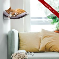 Wall Mounted Designer Curved Cat Shelf, Modern Floating Shelf Cat Bed, Premium Quality Floating Perch, Minimalistic Wooden Pet Furniture